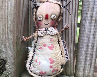 Original  Art Doll - Upcycled Antique Quilt -Free Shipping