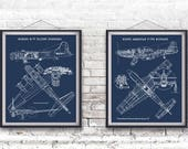 """B-17 Flying Fortress and P-51 Mustang Blueprints, Set of 2, Instant Download, P-51 Mustang Art, B-17 Blueprint, Set of 2, 8x10"""", 11x14"""""""