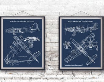 P 51 blueprint art etsy b 17 flying fortress and p 51 mustang blueprints set of 2 malvernweather Gallery