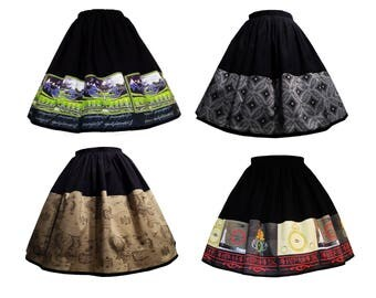 Middle Earth Theme Border Elastic Waist Skirts - Lord Of The Rings The Hobbit
