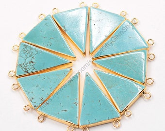 Double Bails Turquoise Triangle Pendants -- With Electroplated Gold Edge Charms Wholesale Supplies YHA-291
