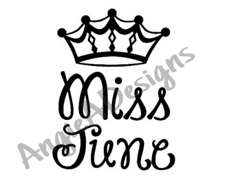 Miss June with Crown SVG