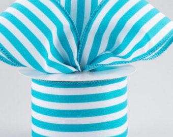 "INSTOCK....Whimsical Turquoise and White Vertical Stripe 2.5"" wide Satin Wired Edge Ribbon....5 yards....NEW"