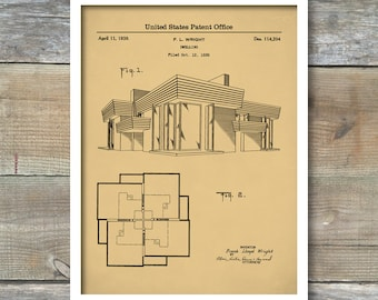 1939 Frank Lloyd Wright House, Patent Print, Architecture, Dwelling Art, Poster Print, Wall Art, Architectural Design, P550