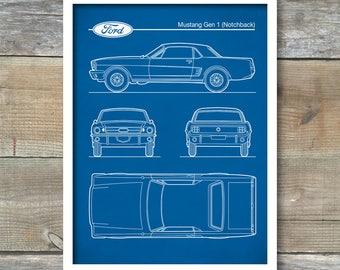 Ford Mustang Gen 1 Blueprint, Auto Art, Patent Print, Notchback Mustang Poster, Ford Mustang  Art, Ford Mustang Decor, Car Art, P564