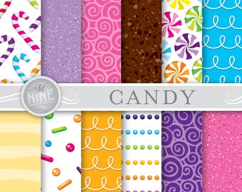 CANDY Digital Paper / Candy Patterns Printable / Candy Prints, Instant Download, Patterns Backgrounds Scrapbook Print Sweets Candy Chocolate