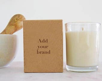 48 bulk candles for private label | white label wholesale natural candles of coconut & soy wax | 8 oz | add your logo or customize