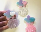 Mermaid Inspired Pastel Star and Shell Dangle Hair Clip or Brooch (options available)