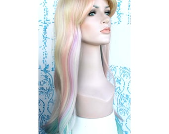 Christmas wig Sale. Long multi-colored straight wig. ready to ship. New Year Eve party wig. Christmas party hair.