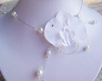 Wedding necklace, Bridal necklace - Orchid white glass beads and Crystal beads - nickel free