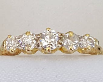 Vintage Old Cut Diamond Five Stone Ring 18ct Gold
