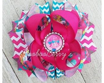 trolls hair bow, poppy hair bow, poppy stacked hair bow, boutique hair bow