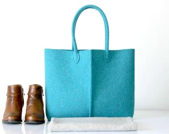 Elegant and Casual Turquoise Felt Bag from Italy, Tote Bag, Felt bag, Handmade Bag, Shopping Bag, Gift For Her, Christmas Gift For Her