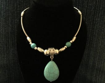 Silver and turquoise beaded necklace