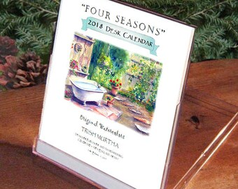 2018 Desk Calendar.  SALE!  Four Seasons-12 Beautiful Pages. Award-Winning Gift & Artist!