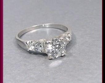 Vintage Engagement Ring Antique Engagement Ring withTransitional Cut Diamond Platinum Wedding Ring  - ER 135S