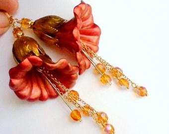 Large Earrings, Hand Painted Flower Earrings, Orange and Gold, Large Flower Earrings, Handmade Earrings, Painted Earrings, Floral Dangles