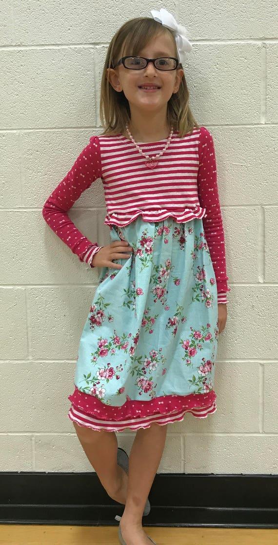 Girls dress,girls knit dress,girls fall dress,girls winter dress,girls pink flowered dress,polka dot dress,aqua and pink,striped dress