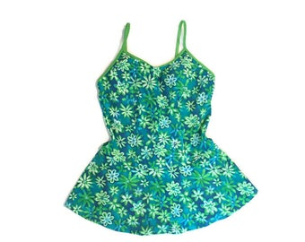 90s Flower One Peice Swim Suit with Skirt