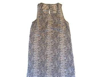 Vintage Silky Snake Skin Print Dress