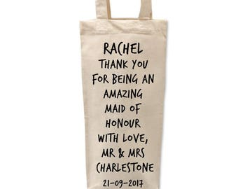 Maid of Honour Gift | Maid of Honour Bottle Bag | Thank you Maid of Honour | Bridal Party Gifts | Gift Bag | Wedding Favour | Will you be my
