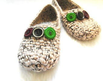 Super Thick Crochet Women slippers - Bulky Chunky House Slippers, Crochet Womens Shoes, Non-slip, Handmade, Home flats, Ready to Ship