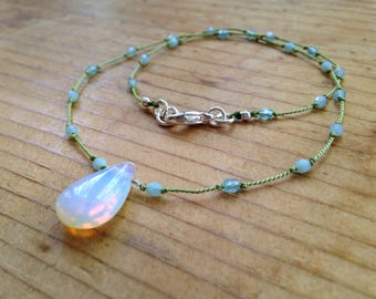 Knotted Opalite and Czech Bead Necklace