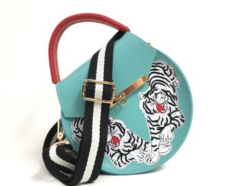 Loel mini embroidered tiger bag // structured crossbody bag and clutch // black and white striped handbag in turquoise and red leather