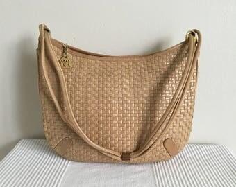 Vintage Morris Moskowitz Brown Woven Leather Shoulder Bag Purse