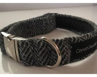 Genuine Harris Tweed Grey Herringbone Dog Collar