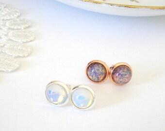 Fire Opal Studs, Glass Opal Posts, White Opal Jewelry, Feminine Earrings, Glamour Post Earrings, Old Hollywood Earrings