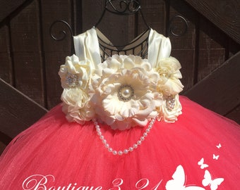 Coral Flower Girl Dress / Coral Tutu Dress / Coral Tulle Dress / Coral Dress / Coral Wedding / Coral / Ivory Flower Girl Dress / Ivory Tutu
