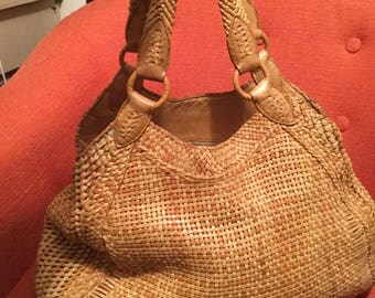 Vintage High Quality Leather Weaved Large Hobo by Cole Haan
