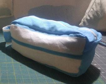 Blue & White Linen Multi-Purpose Bag - MADE IN USA