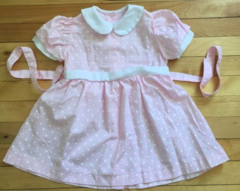 Vintage 1990s Baby Infant Girls Pink White Polka Dot Dress! Size 12-18 months