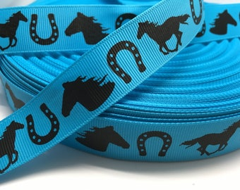 "7/8"" Western Horse Horse Shoe Cowgirl riding grosgrain ribbon"