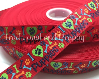 "3 yards 7/8"" I love Dog Puppy puppies Bone grosgrain ribbon"