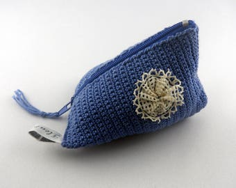 purse cherry blue cotton and lace
