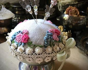 Pin cushion, hand embroider , decorated pins,