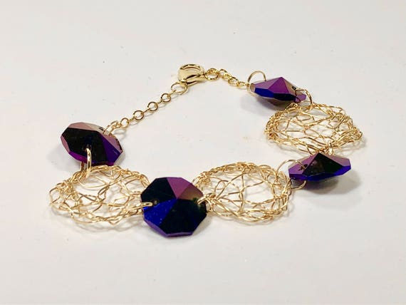 Handmade 14K gold filled wire crochet and chain bracelet with purple crystal prisms from a chandelier