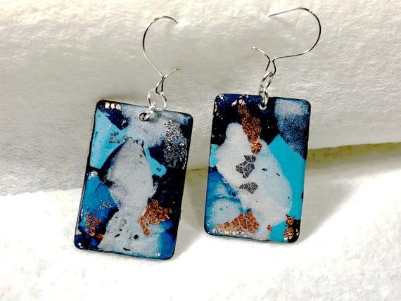 unique polymer clay earrings, silver earrings, blue earrings, unique handcrafted earrings, handcrafted wire earrings