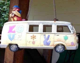 Resin Volkswagen Love Bus Bird Feeder/House?/ Garden Art