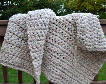 FREE SHIPPING-Crochet Blanket-Ultra Soft- Antique White with Flecks of Color-Super Chunky and Soft- Made with 4 Strands of Yarn- Arm Knit