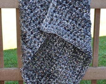 FREE SHIPPING-Crochet Throw Blanket-Soft Grey, Brown, and Off-White Blanket- Made With Extra Thick Spiral Yarn Poly/Wool?Acrylic Blend