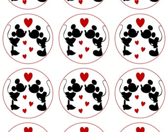 Mr & Mrs Mouse Edible Image Cupcake Toppers