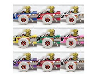 9 Marx Mechanical Speed Racers, Colorfully Restyled, Unframed Art Print, 2 Sizes