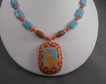 Orange Cat Golem Pendant and Amazonite Necklace and Earring Set