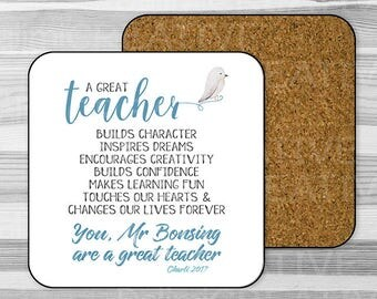A Great Teacher - Personalised Single Coaster Teacher Appreciation Gift -  End Of Term Gift - Gift For Teacher!