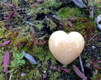 ORANGE CALCITE Heart shaped Stone