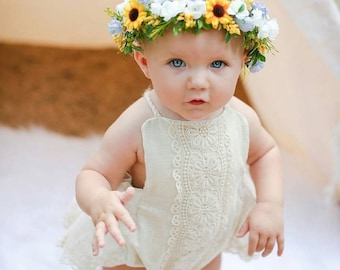 Baby Girl Romper,  baby girl clothes, baby romper, photography prop, baby bodysuit, vintage BoHo romper, birthday outfit, baby shower gift